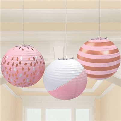 Rose Gold Blush Paper Lantern Decorations - 24cm