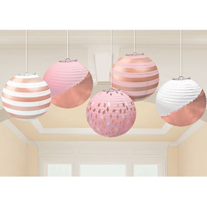 Rose Gold Blush Paper Lantern Decorations - 12cm