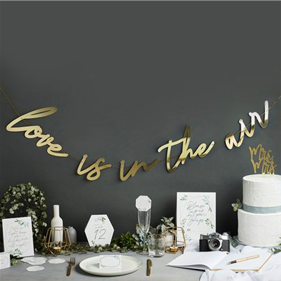 Gold Love Is In The Air Letter Banner - 2m