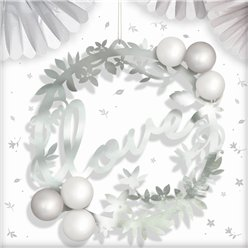 Love Silver Balloon Wreath Decoration