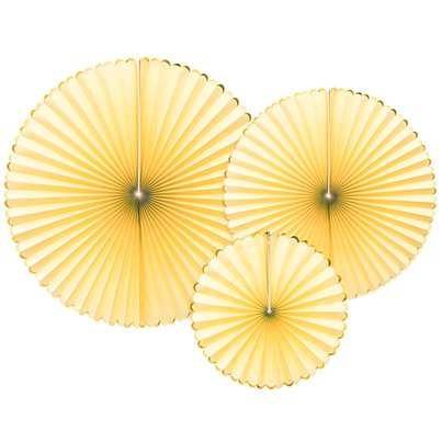 Pastel Yellow & Gold Paper Fans