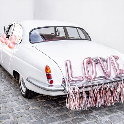 Rose Gold Love Wedding Car Decoration Kit