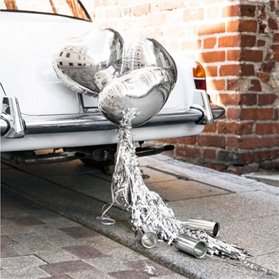 Silver Hearts Wedding Car Decoration Kit