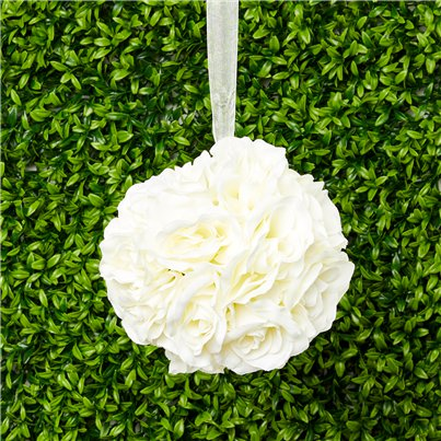 Cream Rose Hanging Pom Pom Decoration - 15cm