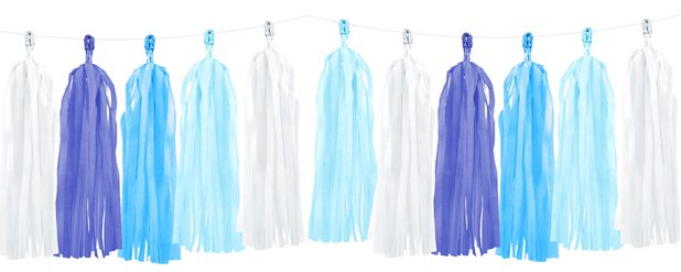 Blue Mix Tassel Garland Decoration - 1.5m