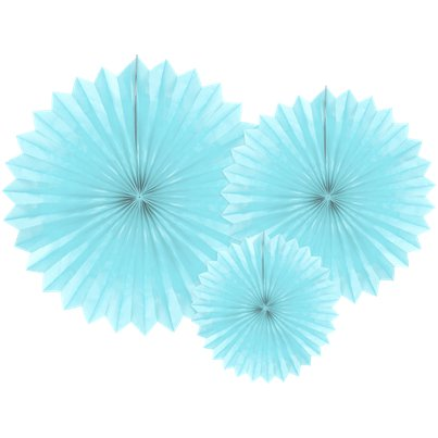 Light Blue Tissue Paper Fans