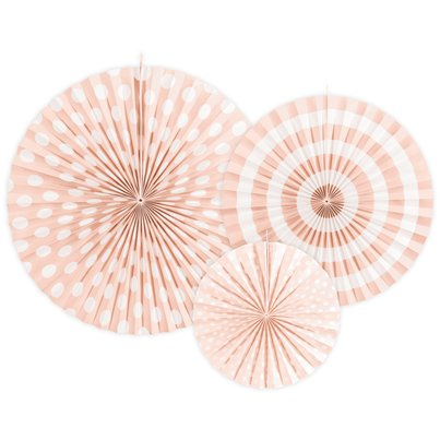 Light Pink Patterned Paper Fans 23cm-40cm
