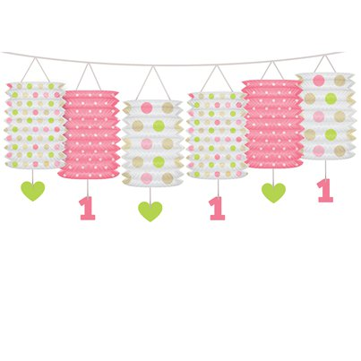 1st Birthday Pink Mix Lantern Garland - 3.6m