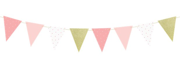 Pink & Gold Paper Pennant Garland 1.3m