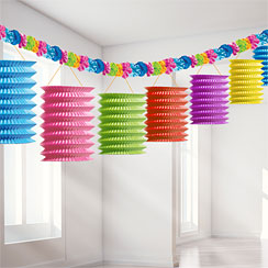 Tiki Paper Lantern Garland Decoration - 3.7m