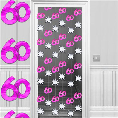 60th Hot Pink Silver Door Curtain