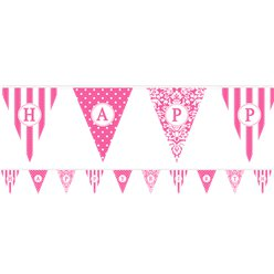 Personalise It Hot Pink Alphabet & Number Bunting - 7.9m