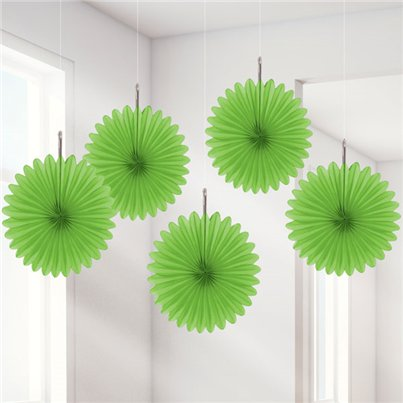 Lime Green Paper Fan Decorations - 15cm