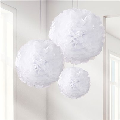 Set Of 3 Different Sized White Pom Pom Decorations - 40cm