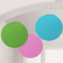 Multicoloured Paper Lantern Decorations - 24cm
