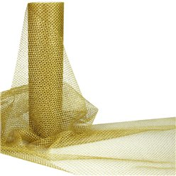Gold Metallic Tulle Roll - 30cm x 10m