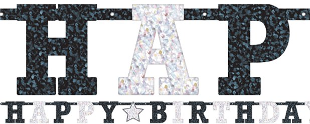 Black & White Prismatic Letter Banner - 2m