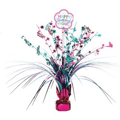 Pink & Teal Happy Birthday Spray Table Centrepiece - 46cm
