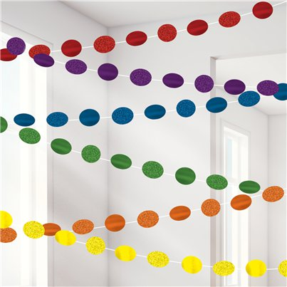Rainbow Glitter Hanging String Decorations