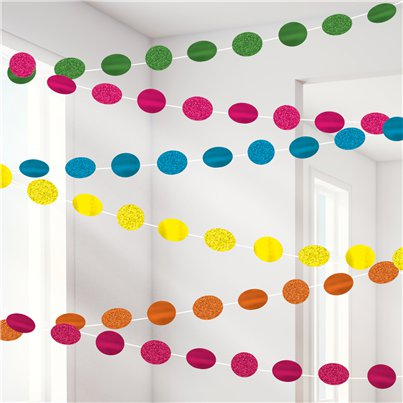 Multi Coloured Glitter Hanging String Decorations