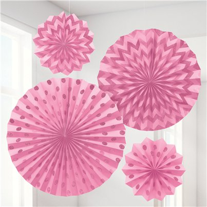 New Pink Paper Glitter Fan Decorations