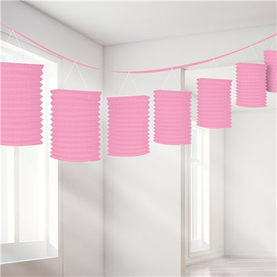 New Pink Paper Lantern Garland Decoration - 3.7m