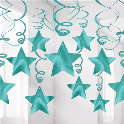 Turquoise Star Hanging Swirls Decoration - 60cm