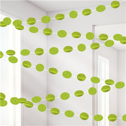 Lime Green Glitter Hanging String Decorations