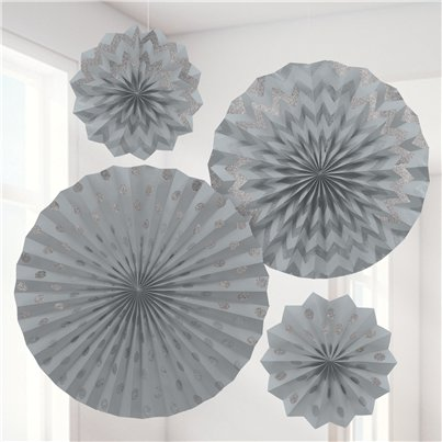 Silver Paper Glitter Fan Decorations