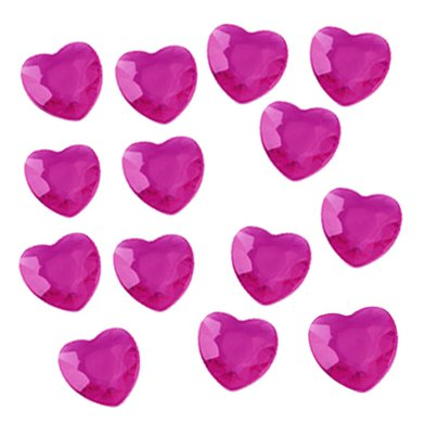 Cerise Pink Hearts Table Diamantes