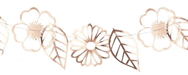 Ditsy Floral Rose Gold Foiled Flower Garland - 3m