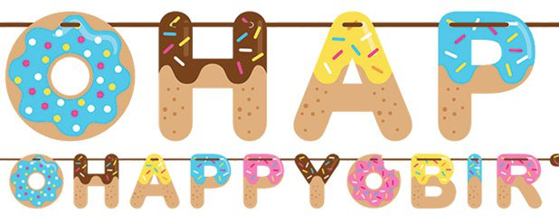 Doughnut Time Ribbon Banner - 2.6m