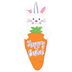 Easter Bunny & Carrot Jointed Felt Sign - 60cm