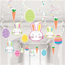 Easter Hello Bunny Assorted Hanging Swirl Decorations