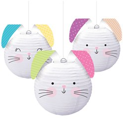 Easter Hello Bunny Assorted Pastel Hanging Lanterns