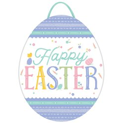 Happy Easter Pastel Glitter Egg Shaped Sign- 29cm