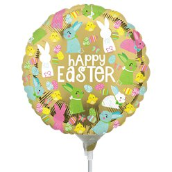 "Happy Easter Mini Gold Balloon - 9"" Airfill Foil Balloon"
