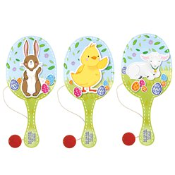 Easter Wooden Paddle Bat - 22cm Assorted Designs