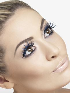 Eyelashes - Spiderswebs with Blue Glitter