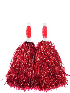 Red Cheerleading Pom Poms - Standard Tinsel