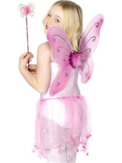 Childrens Pink Glitter Fairy Wings & Wand - 41cm