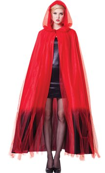 Red Ombre Hooded Cape - Adult Costume