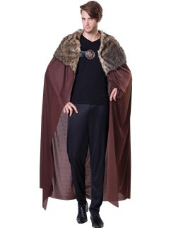 Brown Fur Collared Cape Deluxe