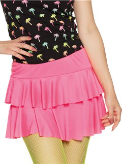 Neon Pink Ruffled Mini Skirt