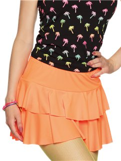 Neon Orange Ruffled Mini Skirt
