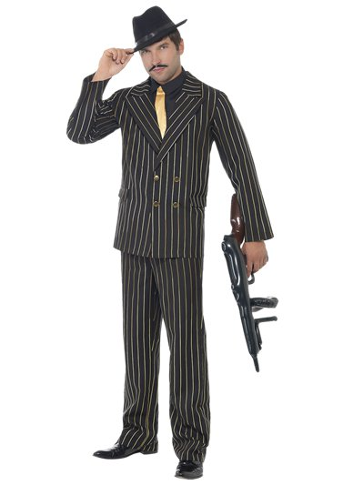 Gold Pinpstripe Gangster Suit - Adult Costume