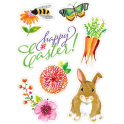 Floral Easter Bunny Window Clings
