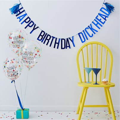 Happy Birthday Dickhead Banner & Balloons Pack