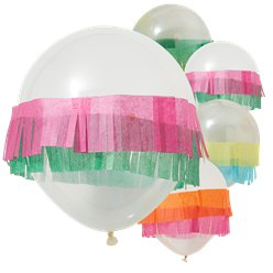 "Fiesta Fringe Balloons - 12"" Latex wih Tissue Fringe Attachment"