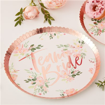 Floral Hen Party 'Team Bride' Plates - 23cm